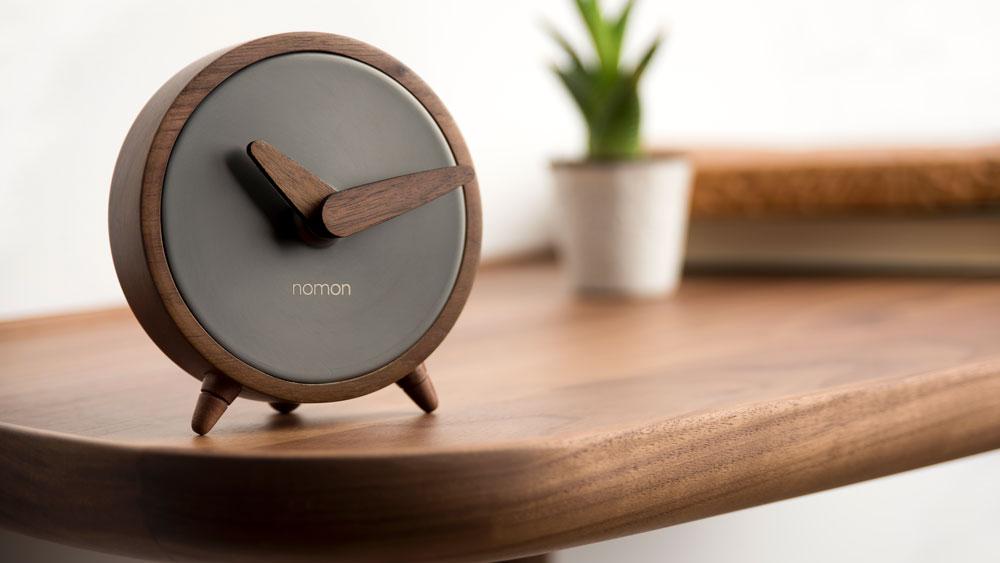 graphite and wood clock