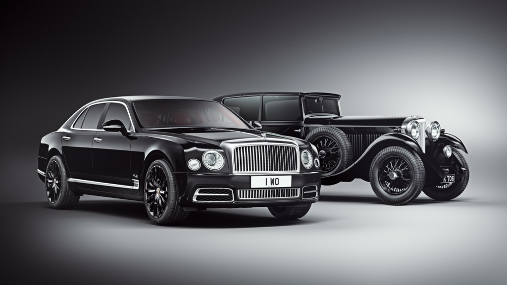 The 2019 Bentley Mulsanne W.O. Edition next to W.O. Bentley's 1930 8 Litre automobile.