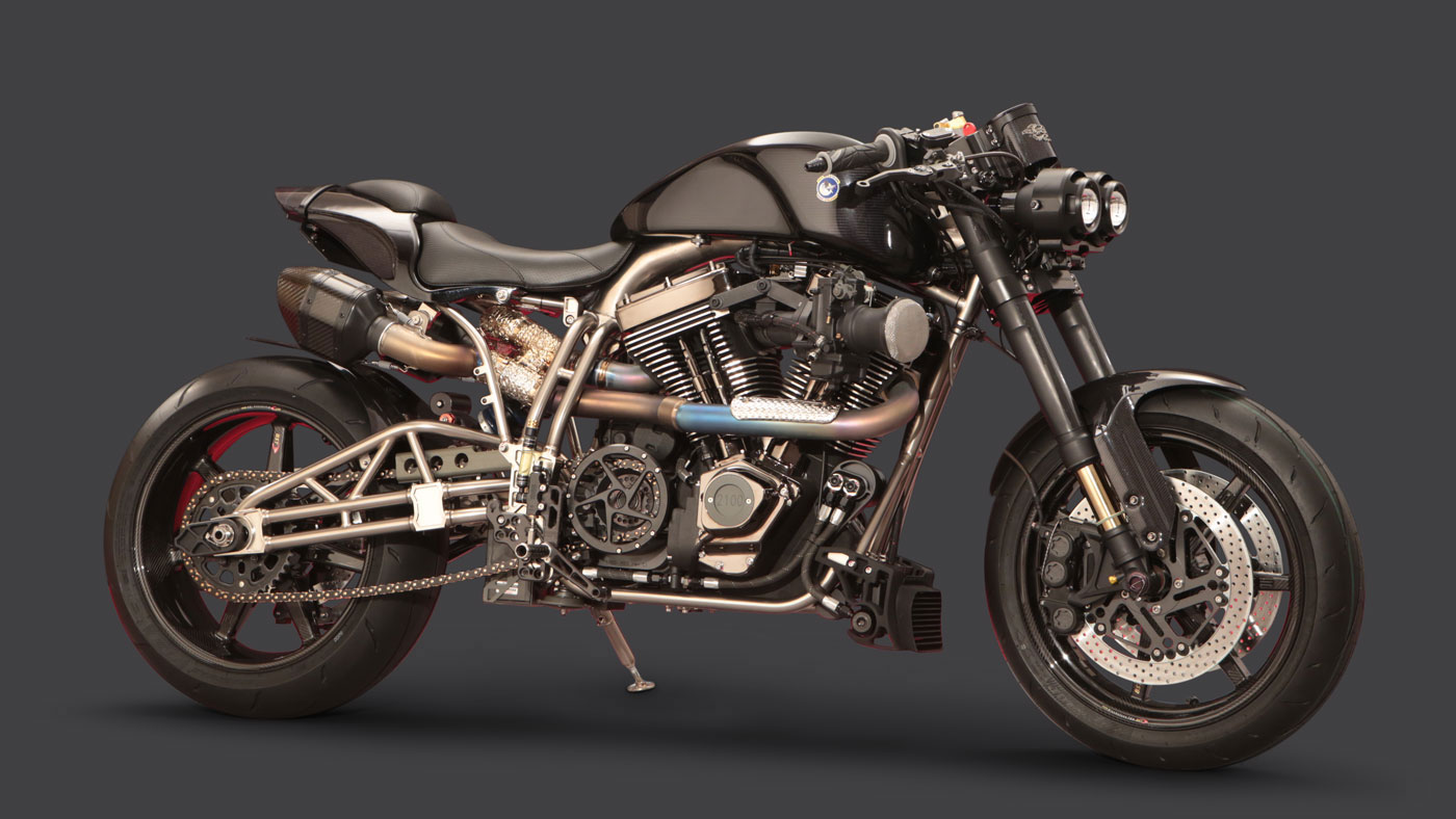 The Ecosse Night Stalker motorcycle.