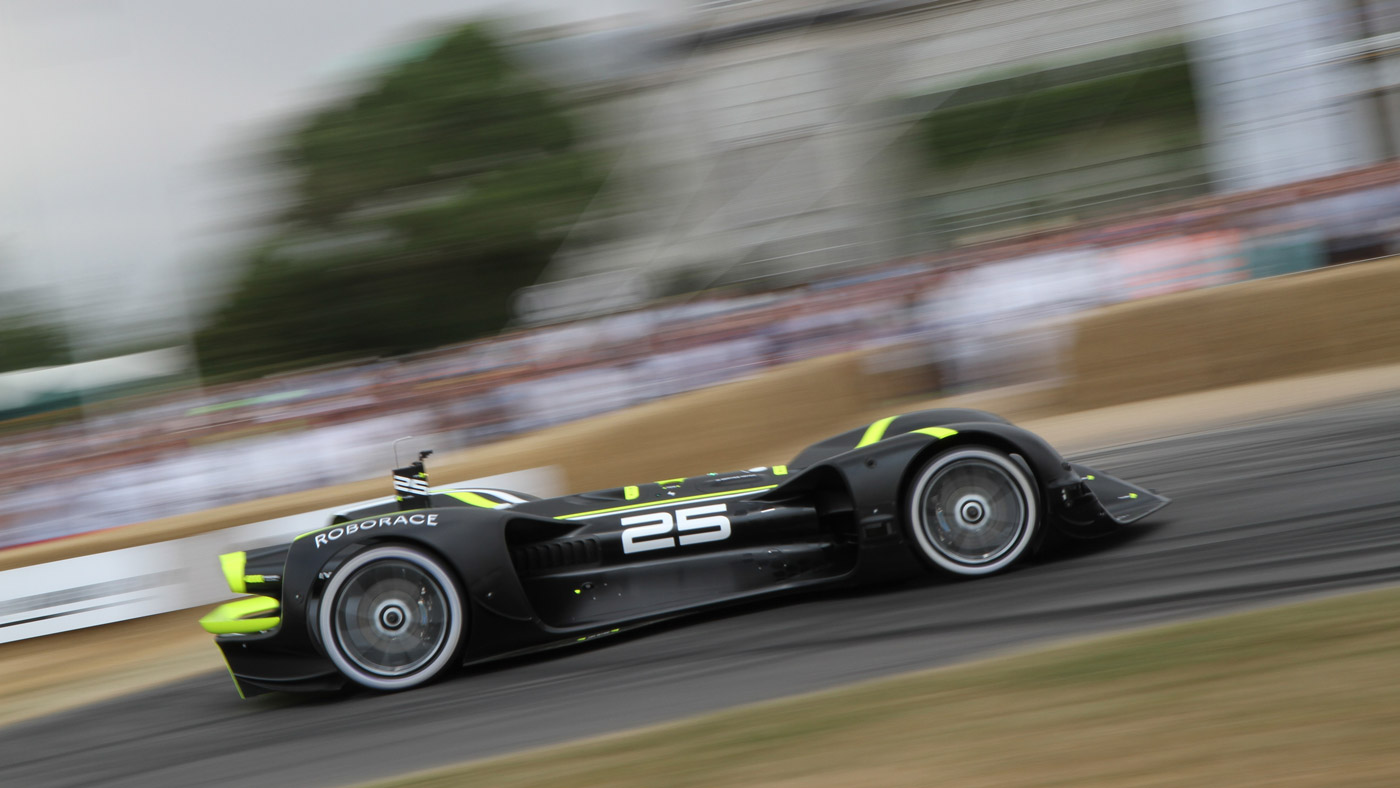 The Roborce Robocar at the 2018 Goodwood festival of Speed.