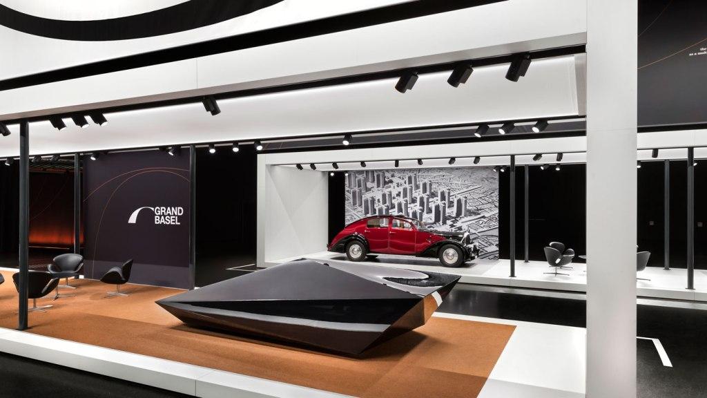 Avant-garde automotive design display to advertise Grand Basel Miami Beach.