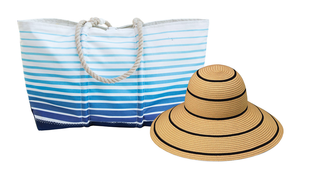 Eklund Griffin's elevated beach tote and woven hat