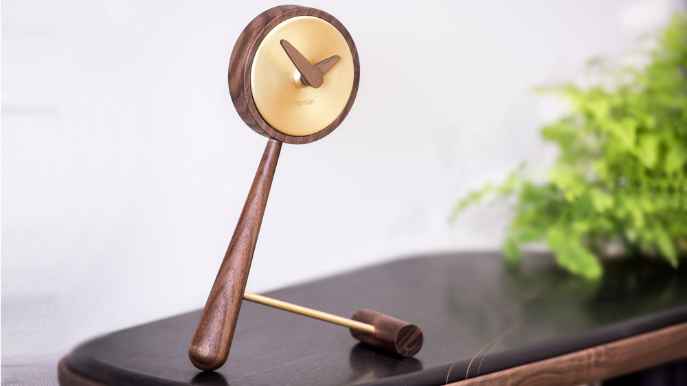 Brass and wood clock