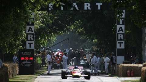 A vintage racer begins the hill climb at the Goodwood Festival of Speed.