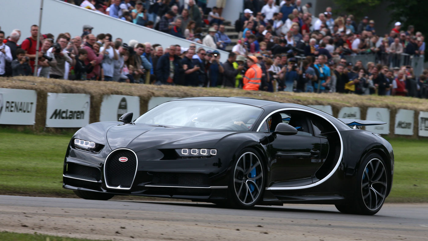 The Duke of Richmond piloting a Bugatti Chiron at a past running of the Goodwood Festival of Speed.