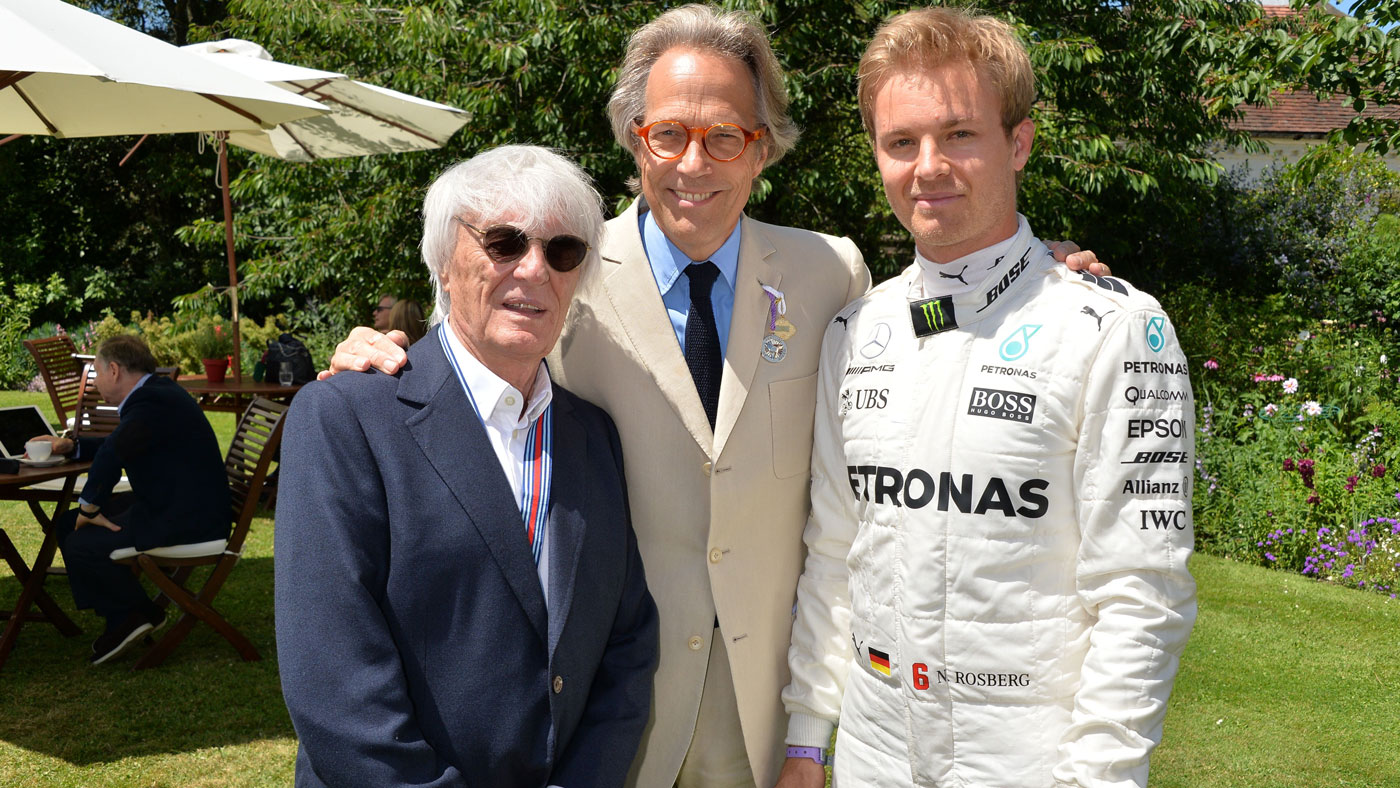 From left: Bernie Ecclestone, the Duke of Richmond, and Nico Rosberg at the 2017 Goodwood Festival of Speed.
