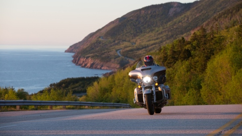 Motorcycling along the Cabot Trail in Nova Scotia.