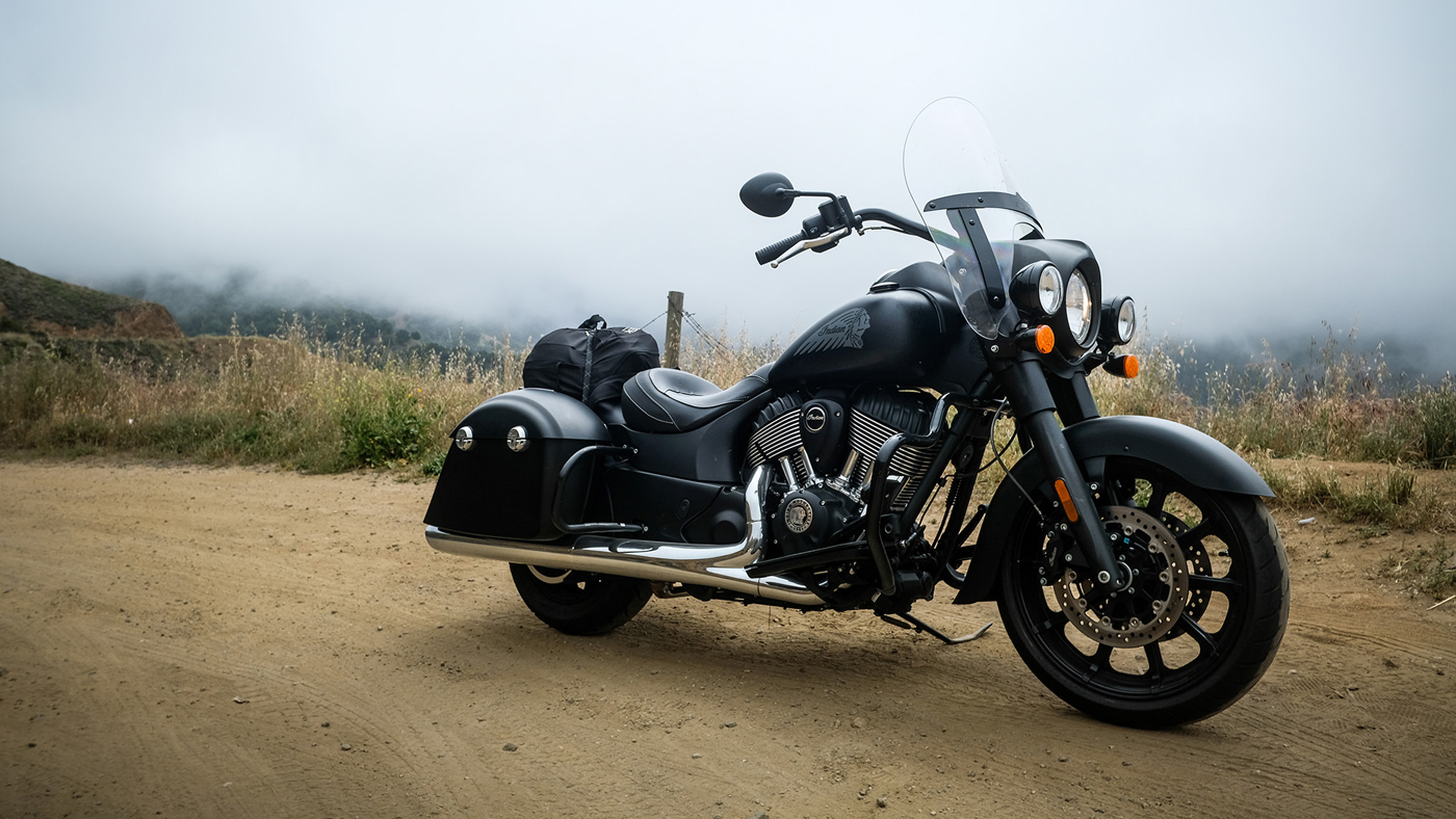 Riding the 2018 Indian Springfield Dark Horse motorcycle.