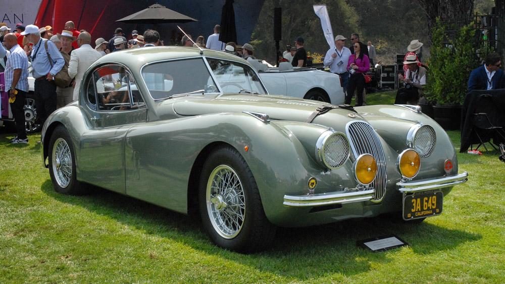 A 1951 Jaguar XK120 FHC.