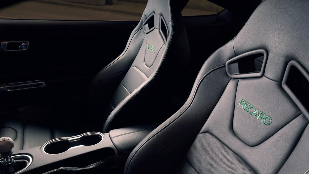The recaro seats inside the 2019 Ford Mustang Bullitt.