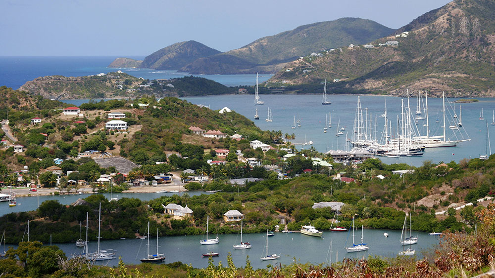Yachts on Falmouth Bay, English Harbour, Antigua; Shutterstock ID 33010783; Notes: Digital TOC