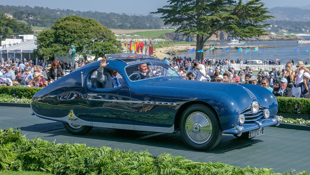 The 1948 Talbot-Lago T26 Grand Sport Figoni Fastback Coupé that won its class at the 2018 Pebble Beach Concours d'Elegance.