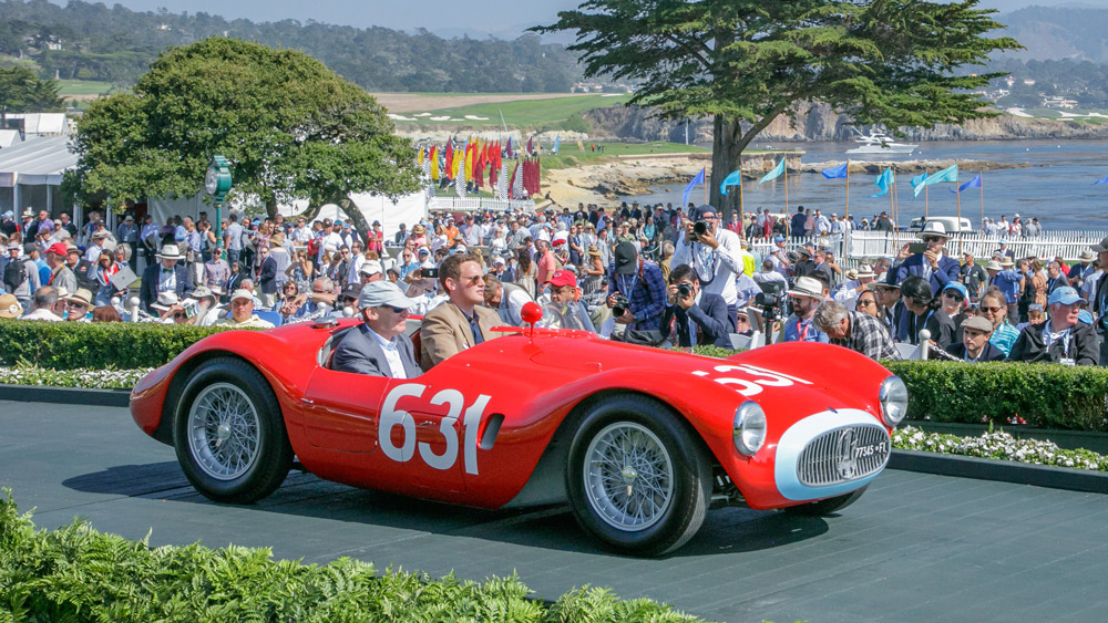 The 1955 Maserati A6GCS Frua Spyder that won the Briggs Cunningham Trophy at the 2018 Pebble Beach Concours d'Elegance.