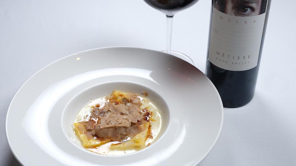 Truffle-topped ricotta ravioli