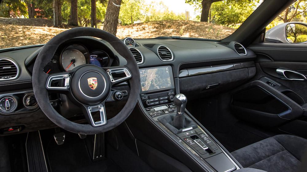 The interior of a Porsche 718 Boxter GTS.