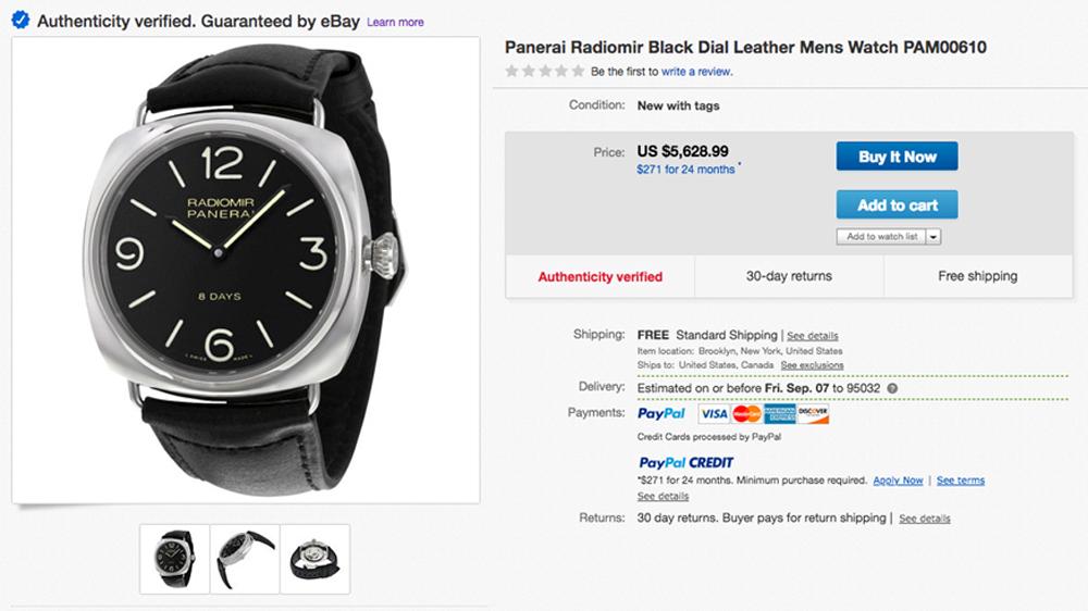 Panerai watch ebay
