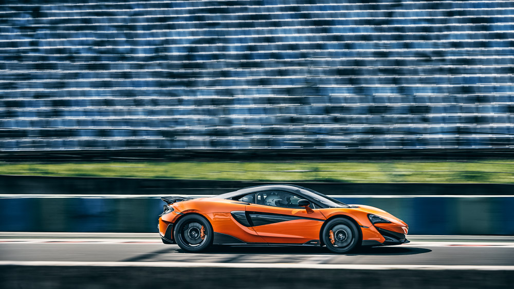 The Mclaren 600LT on a Formula 1 track in Hungary.