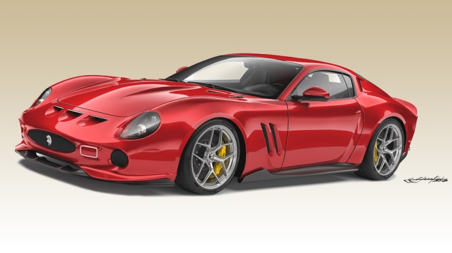 A rendering of a reimagined Ferrari 250 GTO from Ares Design.