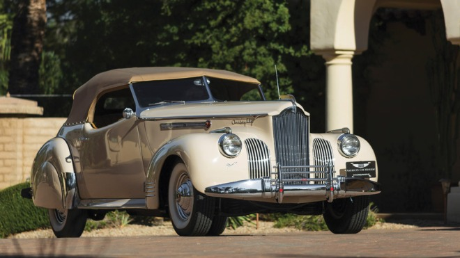 A 1941 Packard Custom Super Eight One Eighty Convertible Victoria by Darrin.