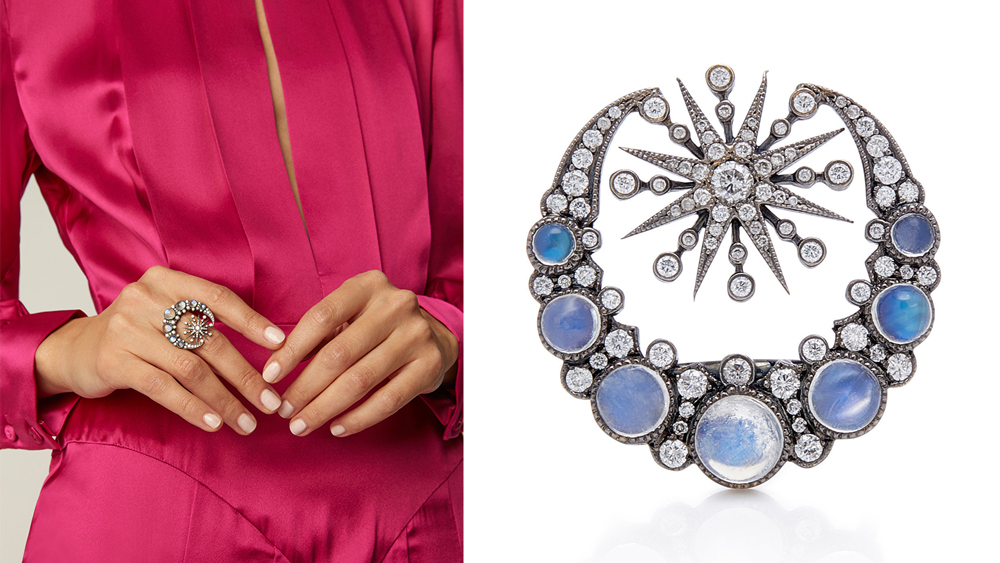 Colette moonstone and diamond ring