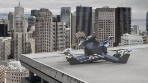 Hoversurf Hoverbike parked roof