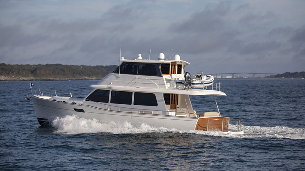 Grand Banks 60 leaving the Newport boat show.