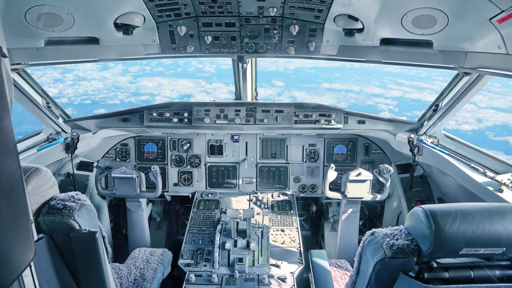 Empty airplane cockpit
