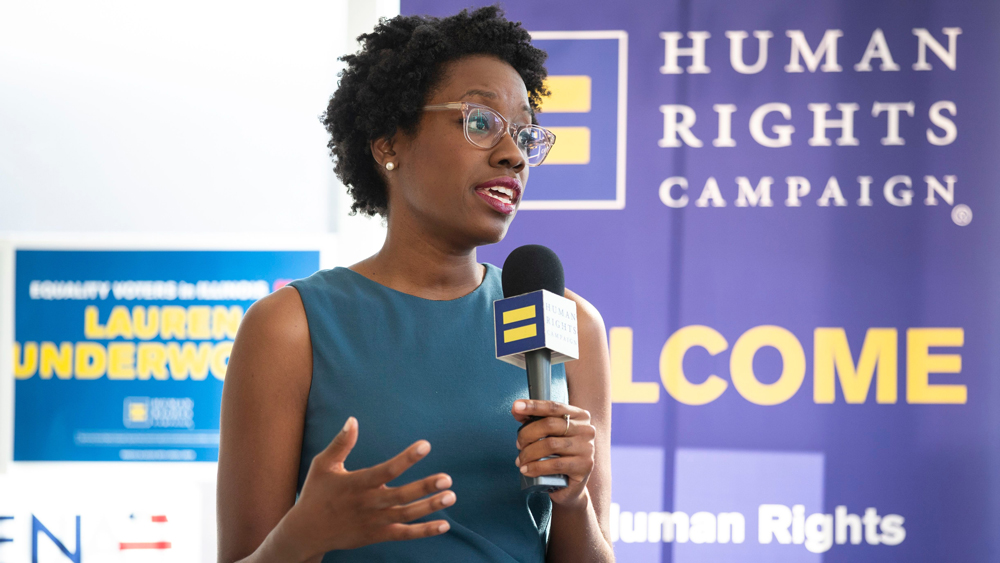 Democratic candidate Lauren Underwood for Illinois' 14th Congressional District speaks at a LGBTQ Roundtable after being endorsed by Human Rights Campaign President Chad Griffin (not pictured) on in Geneva, IllLauren Underwood LGBTQ Roundtable, Geneva, USA - 03 Oct 2018