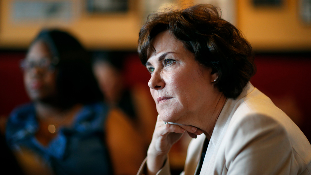 Rep. Jacky Rosen, D-Nev. listens during a breakfast event at TC's Rib Crib as she campaigns in Las Vegas. In the high-stakes race for Senate in Nevada, Rosen is taking on one of the biggest names in GOP politics by painting Sen. Dean Heller as someone without firm principlesElection 2018 Senate Nevada Rosen, Las Vegas, USA - 29 Sep 2018