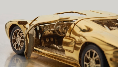 Gold Miniature Ford GT