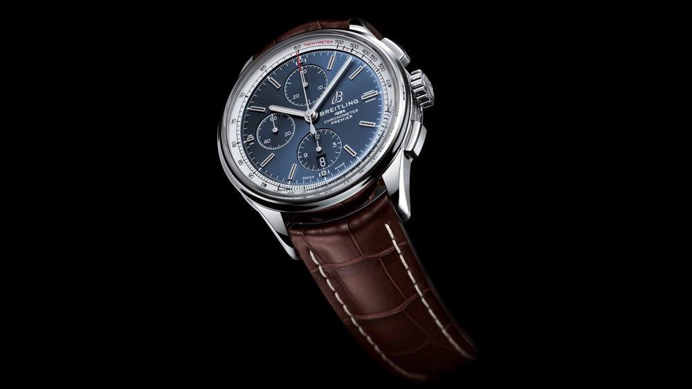 Breitling Premier Chronograph 42 with blue dial and brown alligator leather strap