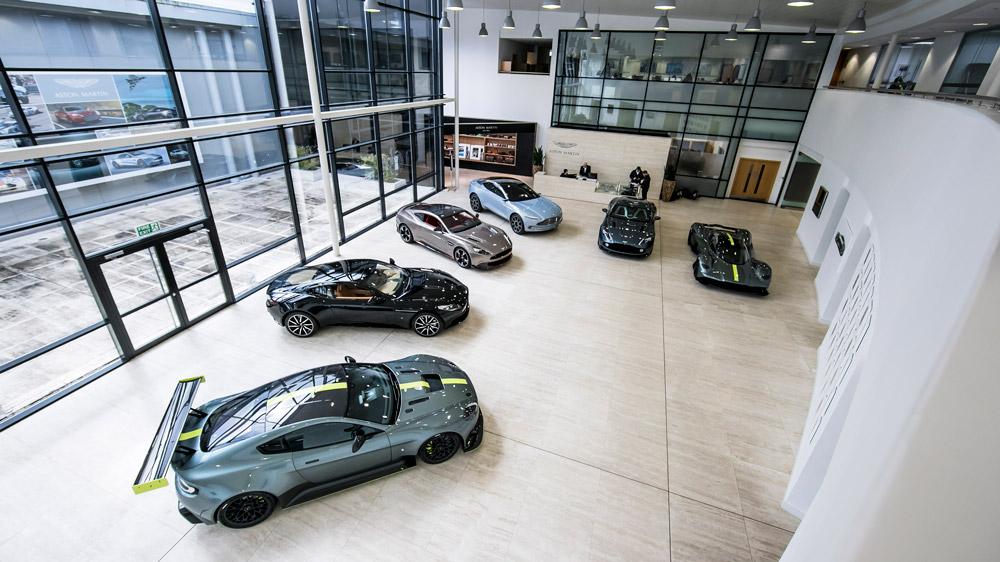 Models displayed at Aston Martin's headquarters.