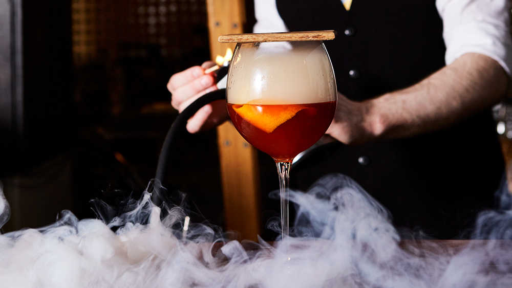 Smoking Old Fashioned cocktail