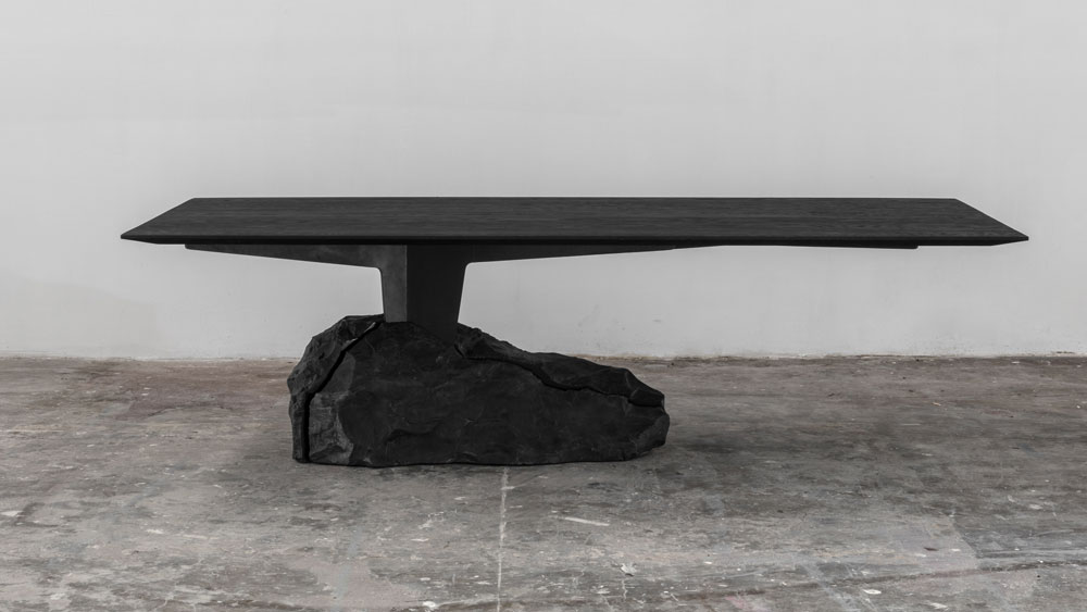 charred black dining table