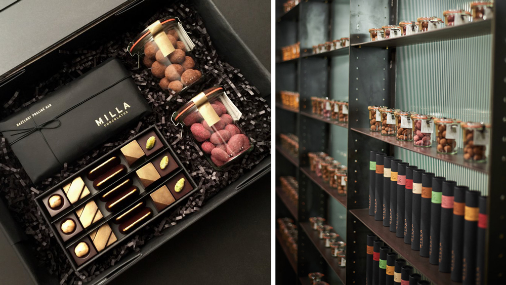 Milla Chocolates gift box and store
