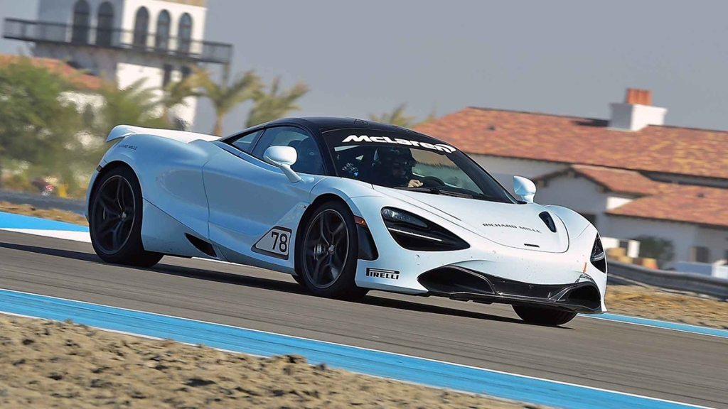 A McLaren on the track.