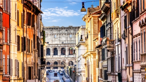 The Coliseum View from Italian Street Via degli Annibald