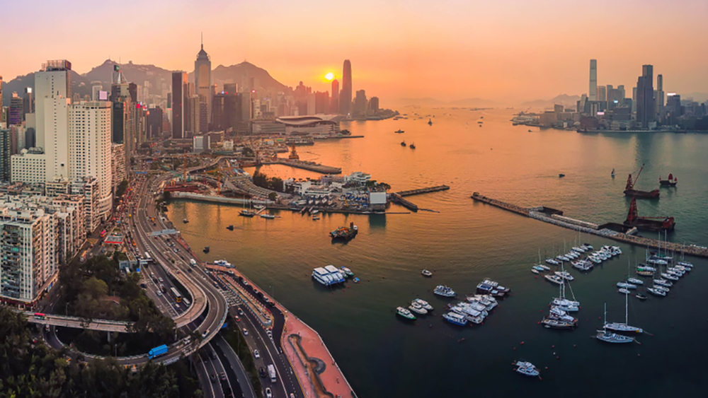 Panorama Aerial bird eye view Photography viewpoint urban landscape sunset traffic at Victoria harbour in Hong Kong; Shutterstock ID 1185613816