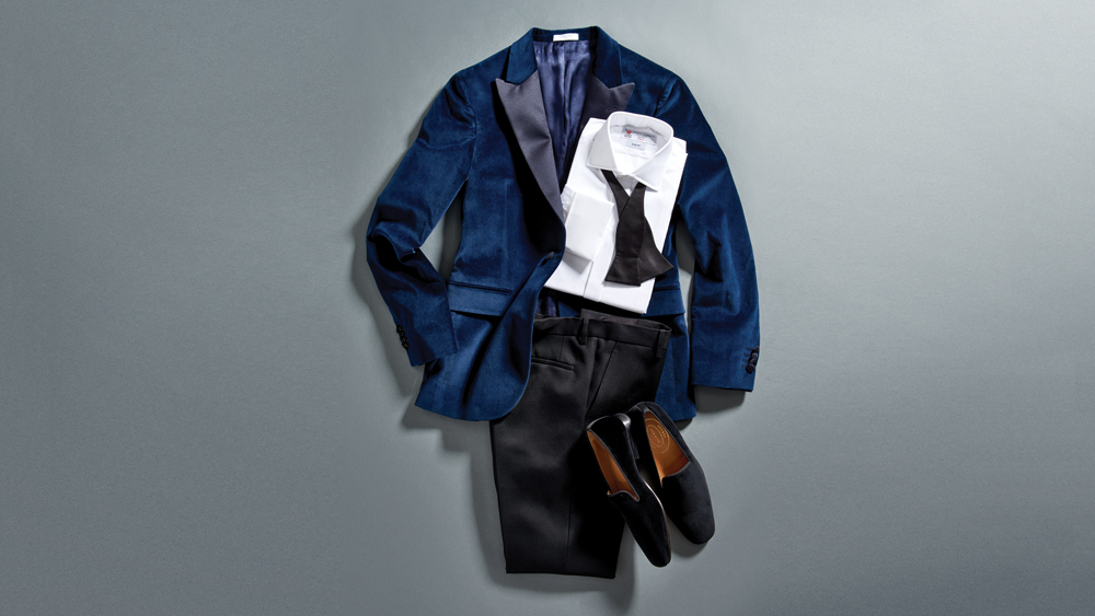 Turnbull & Asser,Marcella bib-front,dress shirt;,Boglioli cotton-velvet,tuxedo jacket; Giorgio,Armani grosgrain,bow tie;,Berluti pants; Stubbs &,Wootton velvet slippers.