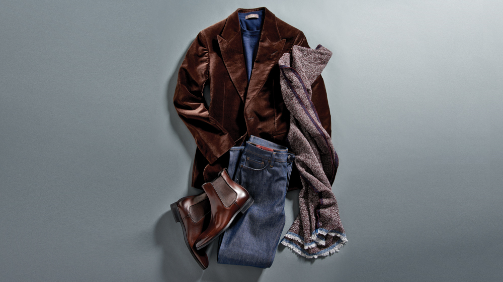 Loro Piana Girocolo,Superlight babycashmere,sweater;,Tom Ford velvet Shelton,jacket; Ermenegildo,Zegna cashmere scarf; Acne,Studios straight-fit river,jeans; To Boot,New York Aldrich boots,in dark brown.