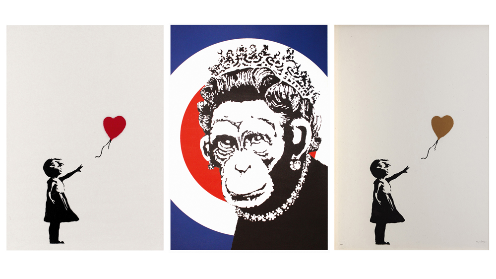 Banksy Monkey Queen Girl with Balloon