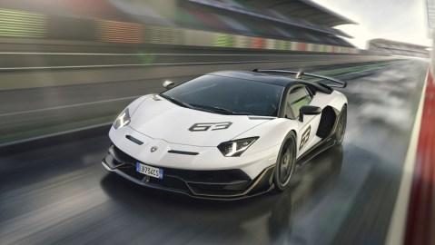 The Lamborghini Aventador SVJ.