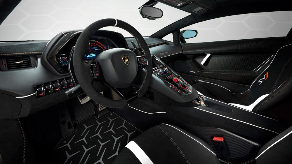 Inside the Lamborghini Aventador SVJ.