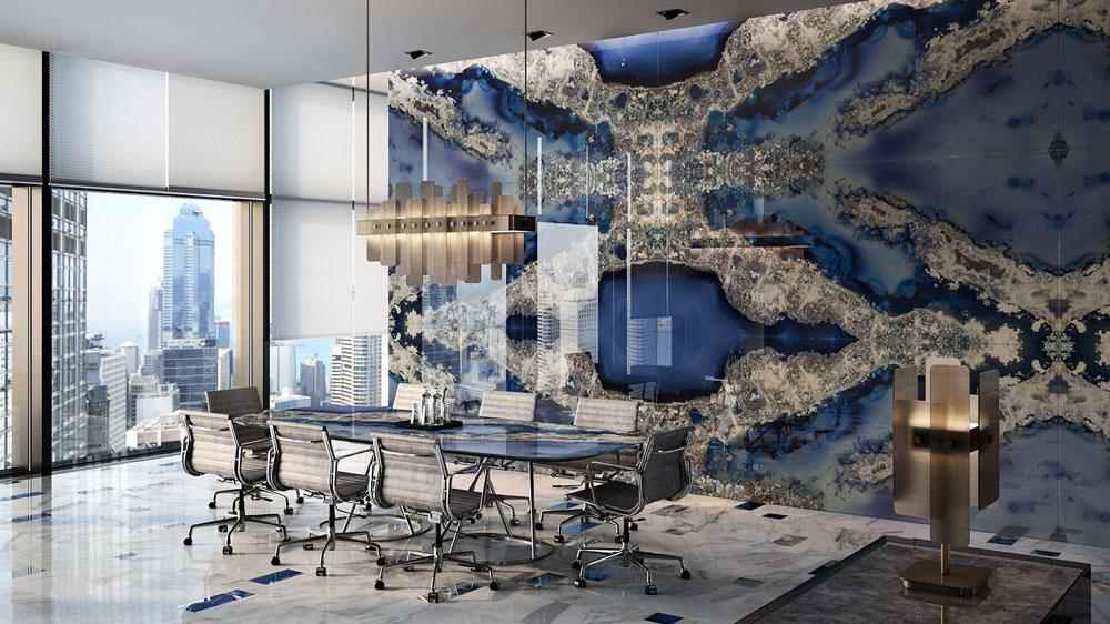 gemstone wall in modern room