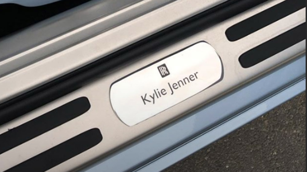 Kylie Jenner's Rolls-Royce Wraith with personalized badging.