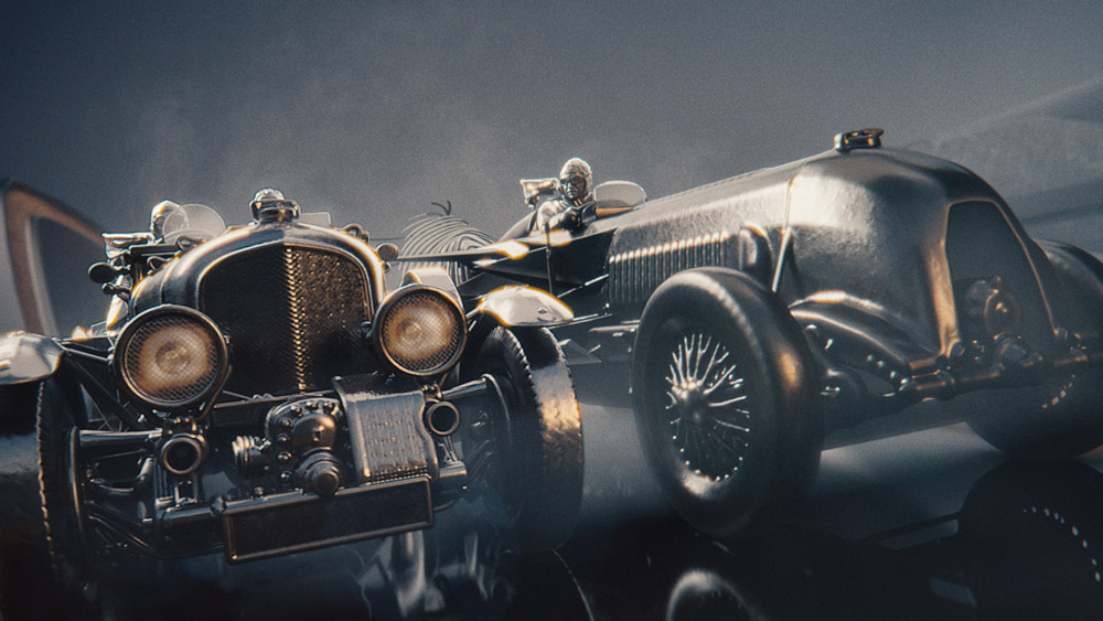 An illustration of Bentleys racing in a bygone era.