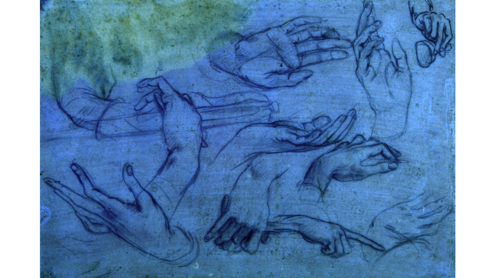 The Queen's Gallery, Buckingham Palace, LondonStudies of hands for the Adoration of the Magi – sheet 2 under ultraviolet light, c.1481, metalpoint (faded) on pink prepared paperRoyal Collection Trust / (c) Her Majesty Queen Elizabeth II 2018For single use only in connection with the 'Leonardo da Vinci: A Life in Drawing' exhibitions, which will open simultaneously at 12 museums and galleries across the UK in February 2019, followed by two further exhibitions at The Queen's Galleries in London and Edinburgh. Not to be archived or sold on.