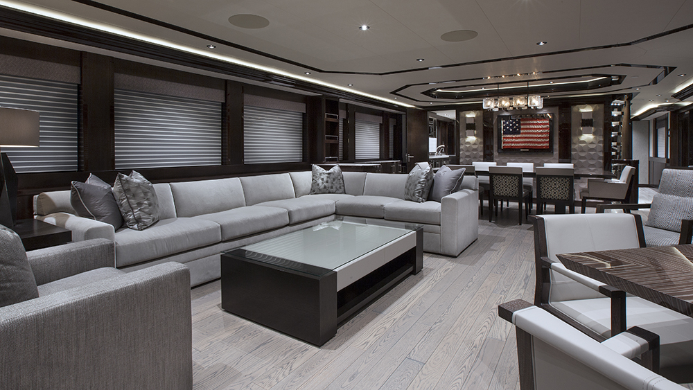The saloon of Westport's recent 130-foot superyacht.