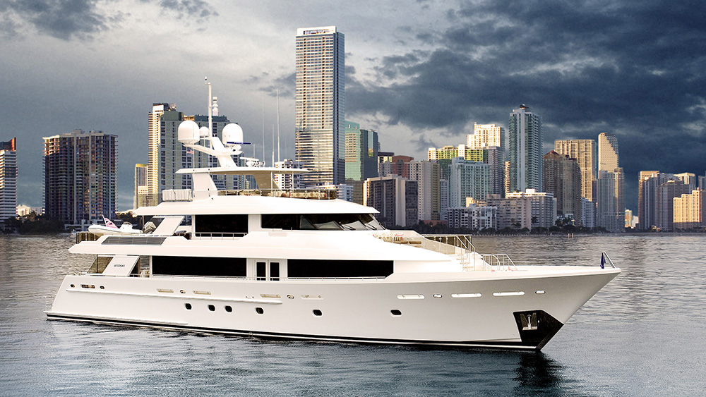 A recently launched 130-foot/40-meter Westport superyacht.