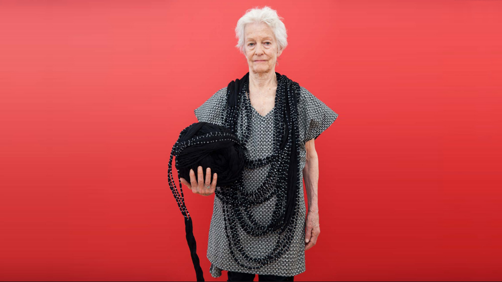 Artist Joan Jonas wears pieces designed by Carla Fernández